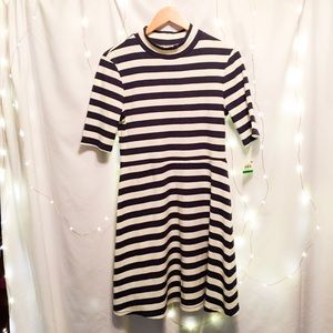 rubbed mock neck navy and white striped dress